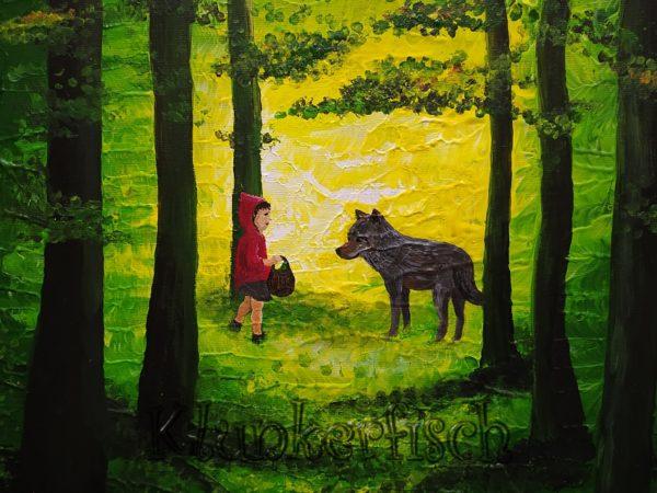 Acrylbild *Rotkäppchen und der Wolf*