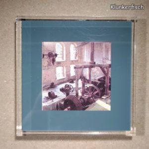 Quadratischer Kühlschrank-Magnet mit Halle-Foto: Zahnräder in der Böllberger Mühle
