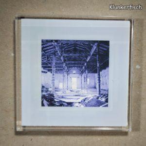 Quadratischer Kühlschrank-Magnet mit Halle-Foto: Alter Schlachthof