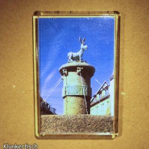 Rechteckiger Kühlschrank-Magnet mit Halle-Foto: Eselsbrunnen mit Shrek-Esel