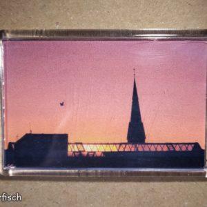 Rechteckiger Kühlschrank-Magnet mit Halle-Foto: Abendrot über der Garage Pfännerhöhe