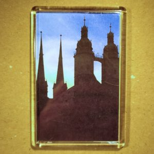 Rechteckiger Kühlschrank-Magnet mit Halle-Foto: Marktkirche (vertikal)