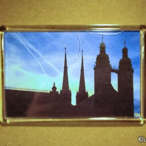 Rechteckiger Kühlschrank-Magnet mit Halle-Foto: Marktkirche (horizontal)