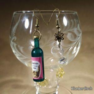 Witzige Ohrringe für Wein-Genießerinnen: Weinflasche *Chateau* mit Weinglas