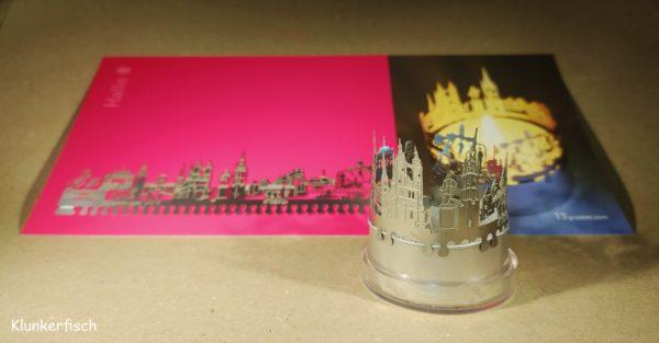Teelicht-Aufsatz mit Halle-Skyline (Karte)