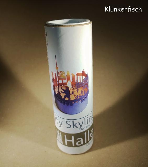 Teelicht-Aufsatz mit Halle-Skyline (Tube)