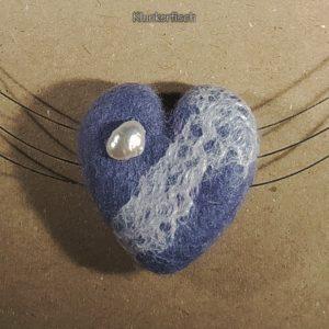Filz-Kiesel-Halskette *Steinernes Herz* mit Süßwasser-Perle 🤍
